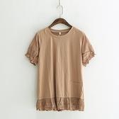 短袖T恤-純色拼接繡花荷葉邊甜美女上衣5色73sy29[巴黎精品]