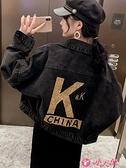 牛仔外套 韓版閃亮字母黑色牛仔外套女短款寬鬆小個子工裝夾克牛仔衣潮春秋 小天使