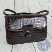 BRAND楓月 HERMES 愛馬仕 B刻 酒紅色 鱷魚紋 長方型 斜背包 側背包