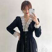 韓國ins法式優雅V領重工蕾絲鉤花拼接單排扣顯瘦收腰中長款洋裝