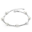 925純銀 淡水乳白珍珠 雙鍊手鍊-銀 ...