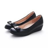MICHELLE PARK 典雅簡約飾釦柔軟羊皮舒適楔型厚底娃娃鞋-黑色