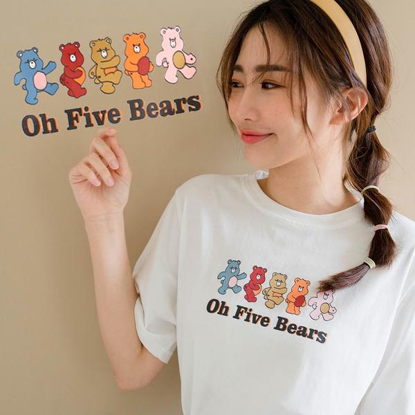 現貨-MIUSTAR FIVE BEARS繽紛熊短袖棉質上衣(共2色)【NJ1720】