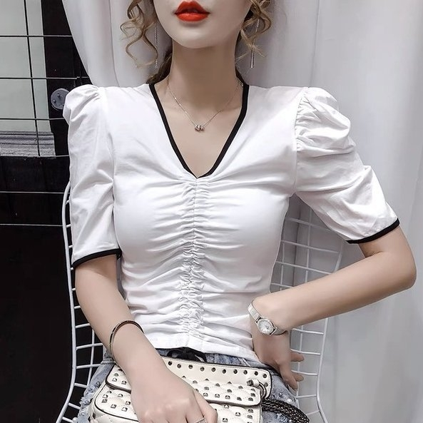 上衣素面S-XL百搭淑女韓系泫雅風短袖T恤女修身顯瘦上衣.T327.976胖胖唯依