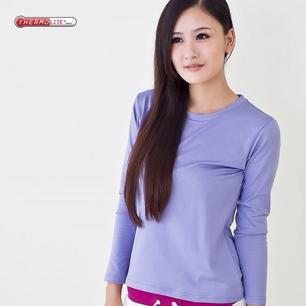 杜邦專利中空紗 發熱衣 保暖衣 輕量 升溫 運動保暖 吸濕排汗 女款圓領 紫色