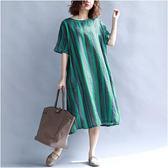 棉麻 直條紋印花寬鬆版洋裝-大尺碼 獨具衣格