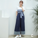 CANTWO JEANS高腰褲口剪接寬褲...
