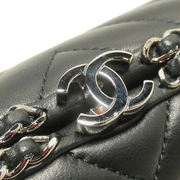 CHANEL 香奈兒 黑色山形紋牛皮銀釦肩背包 手拿晚宴包 Chain Around Clutch BRAND OFF