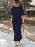 短袖洋裝流行裙子寬鬆休閒很仙的法國小眾連身裙短袖t恤裙長款過膝夏春季特賣