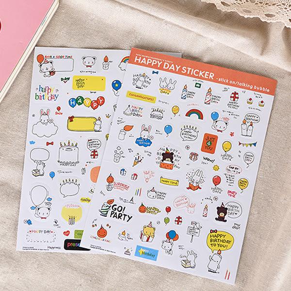 【BlueCat】HAPPY DAY生日快樂小熊小兔貼紙 (2入裝)