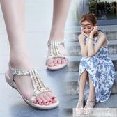 仙女風軟底涼鞋女夏季平底鞋2020年新款舒適防滑百搭水鑚波西米亞 韓慕精品