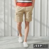 【JEEP】彈性雙口袋休閒短褲-卡其