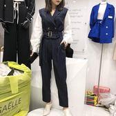 套裝 秋裝新款長袖拼接條紋外套上衣配休閒九分長褲兩件套洋氣套裝女裝