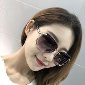墨鏡/太陽眼鏡 無框圓臉太陽鏡長臉明星款狐貍頭墨鏡女方臉大臉優雅 巴黎春天