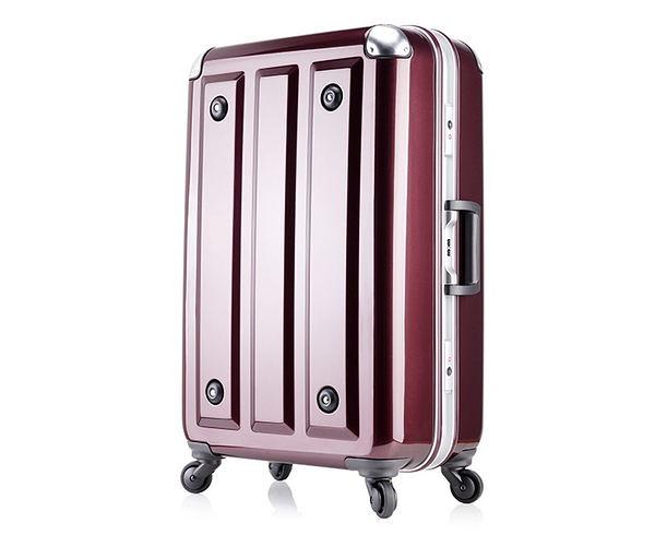 MOM JAPAN日本品牌 輕量化護角鋁框鏡面 旅行箱 -26吋-方格紅