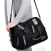 防水尼龍男士單肩包大容量斜挎包休閒旅行手提包牛津布帆布大包包『潮流世家』