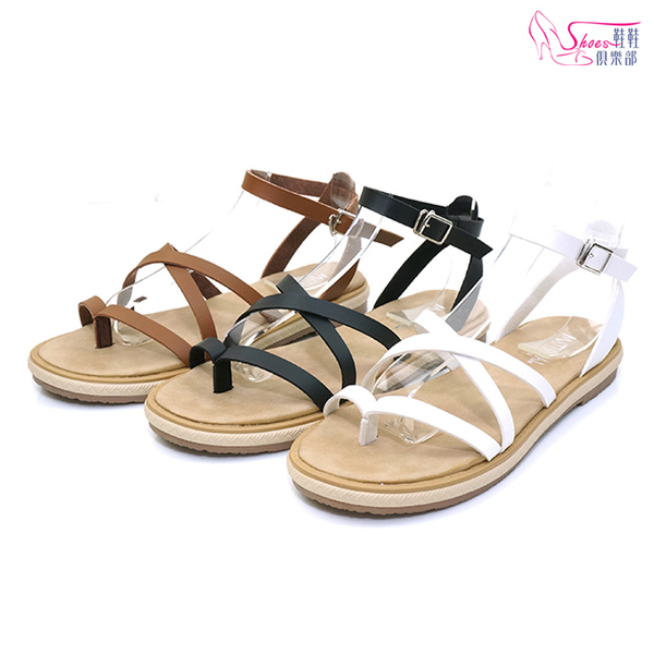 涼鞋.MIT夾腳繞踝寬版涼鞋.黑/白/棕.版型偏大【鞋鞋俱樂部】【028-0337】