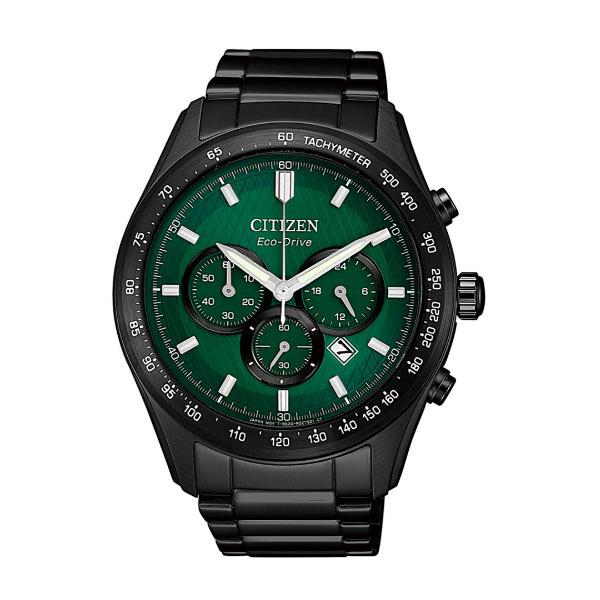 CITIZEN Eco-Drive  新上市光動能 特殊面盤計時腕錶  CA4455-86X  黑X綠