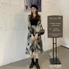 長袖洋裝 復古拼接扎染長袖洋裝女秋裝2020新款韓版氣質顯瘦中長款 【快速出貨】