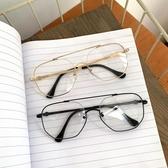 韓版學院風復古方形眼鏡金屬細框平光鏡文藝原宿男女眼鏡框架潮