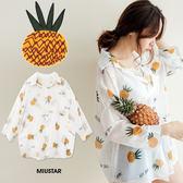 ★夏裝限定★MIUSTAR pineapple可愛鳳梨透膚雪紡襯衫(共1色)【NF3043LG】預購