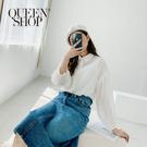 Queen Shop【01023746】透膚蕾絲金蔥小澎袖白襯衫*現+預*