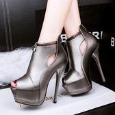 防水臺中空超高跟鞋子 細跟魚口性感顯瘦鞋【多多鞋包店】z7045
