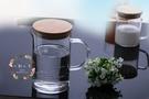 心動小羊^^耐熱加厚耐高溫防爆玻璃透明量杯+竹蓋(1000ml)烘焙手工皂杯 可微波爐加熱