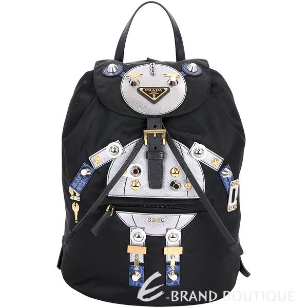 [ NG大放送 ]PRADA Nylon Robot 黑銀色機器人圖案尼龍後背包(中) 1790082-01