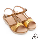 A.S.O 挺麗氣墊 全真皮寬楦鏤空氣墊楔型涼拖鞋  茶