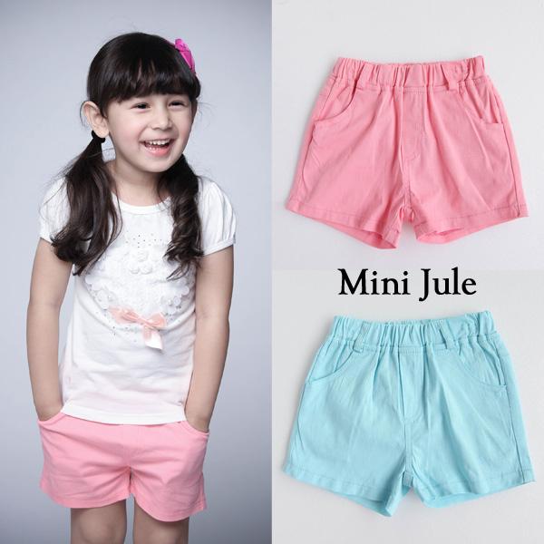 童裝 短褲 休閒純色雙口袋鬆緊短褲(共2色)