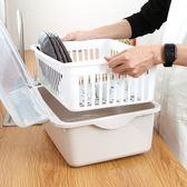 簡易碗櫃 裝碗筷收納箱 帶蓋瀝水架 塑料置碗盆 家用碗盒 廚房放碗架子