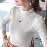 八八折促銷-長袖針織新正韓半高領毛衣外套女長袖短版秋冬套頭修身針織打底衫時尚上衣