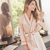 第二代 Ladoore 絕對寵愛 質感升級超絲滑緞面舒適睡袍(粉)