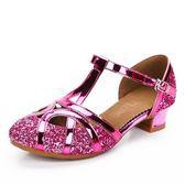 女童拉丁舞鞋兒童高跟鞋女孩舞蹈鞋軟底跳舞鞋公主水晶表演涼鞋