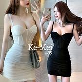 克妹Ke-Mei【ZT65402】歐美夜店辛辣馬甲罩杯併接網紗吊帶洋裝