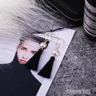 耳環 超仙黑色流蘇耳環韓國氣質長款吊墜個性百搭珍珠銀針耳釘網紅時尚 古梵希