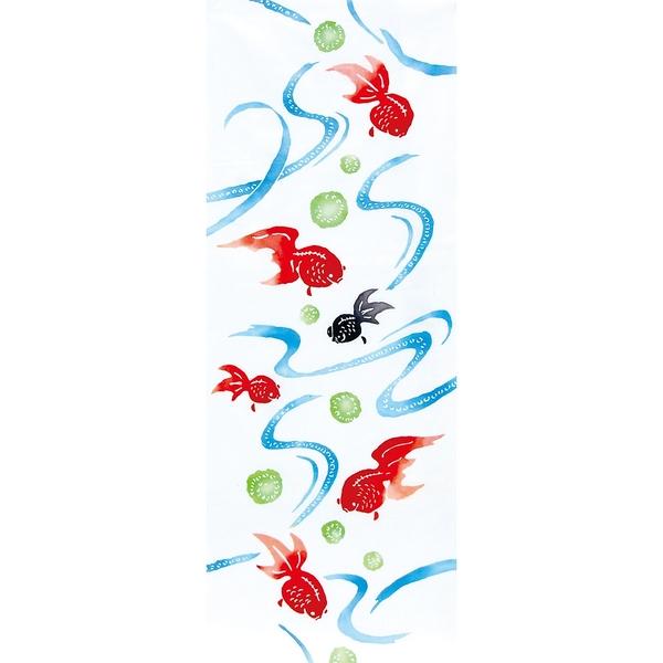 【日本製】【和布華】 日本製 注染拭手巾 流水金魚圖案(一組:3個) SD-4951-3 - 和布華