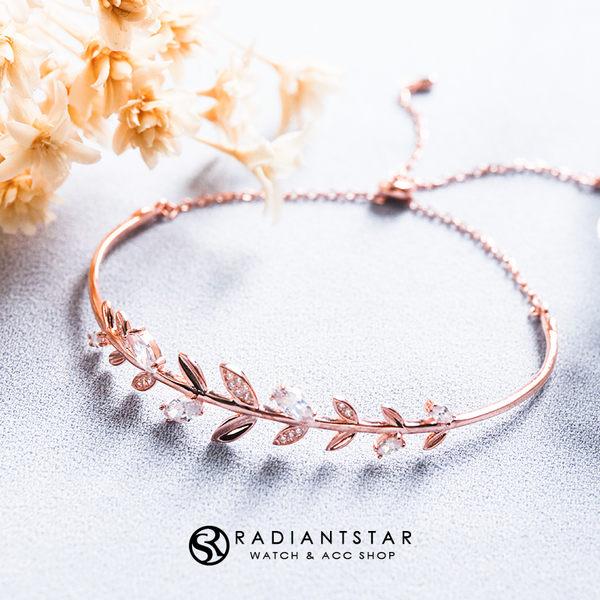 [925純銀]藤蔓枝葉水鑽抽拉式可調手環【SL472】璀璨之星☆