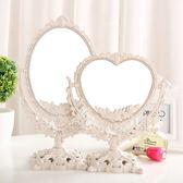 歐式臺式化妝鏡子 新款復古鏡子 雙面梳妝鏡簡約大號便攜公主鏡子   初見居家