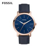 FOSSIL Luxluther 極簡設計寶藍面皮革手錶 44mm BQ2424