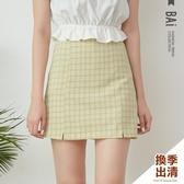 褲裙 撞色格紋小開叉擺拉鍊A字短裙M-L號-BAi白媽媽【301521】