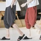 夏季寬鬆薄款休閒哈倫馬褲亞麻純棉七分褲男潮流棉麻寬管燈籠短褲 黛尼時尚精品