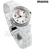 mono ROYAL 都會新貴系列 小花鑲鑽陶瓷錶 鑽框白面超高硬度 小圓錶 防水 女錶 ZR0526D紅
