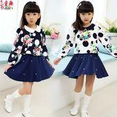 衣童趣 ♥可愛女童點點 碎花連身裙 氣質 珍珠下擺 澎澎洋裝 兩色可選 公主甜美長袖洋裝