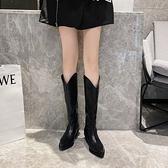 膝上靴 牛仔靴女復古長筒長靴尖頭白色不過膝靴子v口高筒騎士中筒靴子女