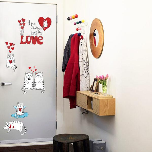 SK5002天使愛心貓.情侶貓牆貼.背景牆裝飾壁貼.萌萌豬生活館