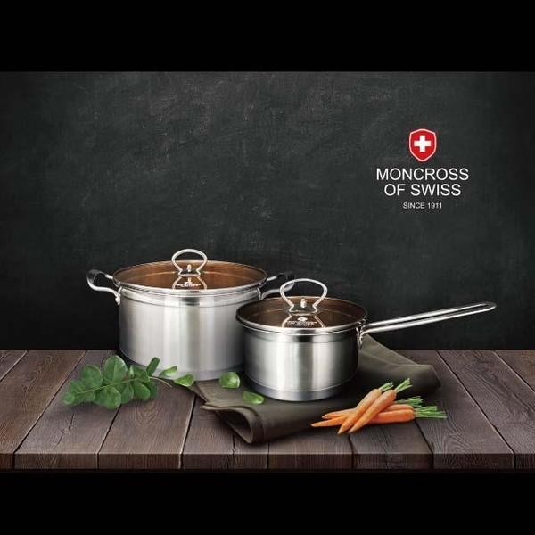 【南紡購物中心】【Moncross 】不鏽鋼琥珀雙鍋組24cm湯鍋+16cm牛奶鍋+鍋蓋×2 四件組