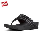 推薦7折【FitFlop】LULU PADDED SHIMMYSUEDE TOE-THONGS經典寬版夾腳涼鞋-女(靚黑色)