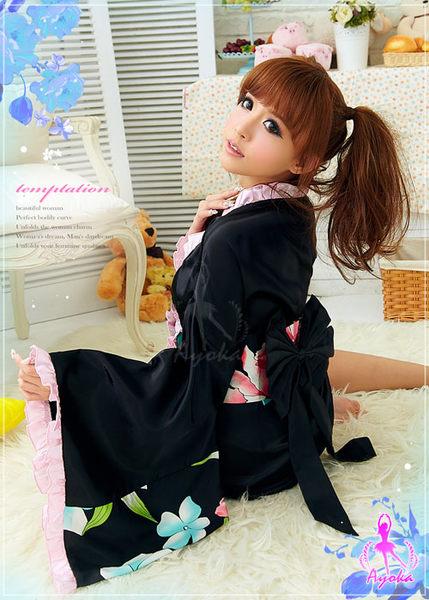 【愛愛雲端】妻子誘惑!二件式 和服 黑印花 角色扮演 NA12030129
